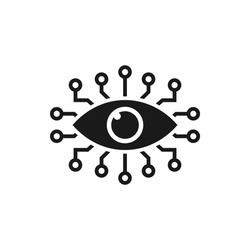 Bionic eye. Artificial intelligence icon concept isolated on white background. Vector illustration