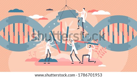 Biotech industry as genetic cellular research experiment flat tiny persons concept. Study about technology using microscopic biological science vector illustration. Abstract laboratory with DNA chain.