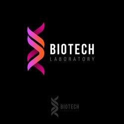 Biotech laboratory logo. DNA logo as two ribbons. Biotech logo.  Molecule or gene icon.