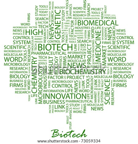 BIOTECH. Word collage on white background. Vector illustration. Illustration with different association terms.