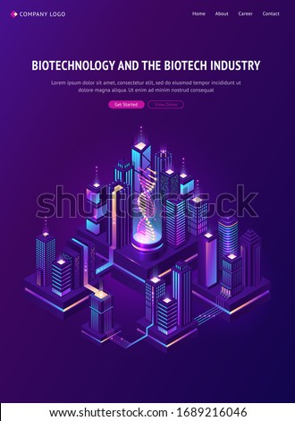 Biotechnology and biotech industry isometric landing page. Smart city with Dna hologram projection in bio laboratory and neon glowing skyscrapers. Futuristic genetic engineering, 3d vector web banner