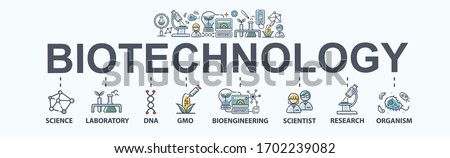 Biotechnology banner web icon for, innovation, science, laboratory, chemical, dna, GMO, bioengineering, research and organism. Minimal flat cartoon vector infographic.