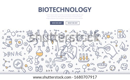 Biotechnology & bioengineering concept. Scientists are conducting an experiment to change the DNA to develop technologies and products that help improve our lives and the health. Doodle illustration