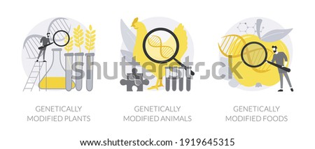 Biotechnology in agriculture abstract concept vector illustration set. Genetically modified plants and animals, GM food industry, gmo farming, transgenic crops, nutrition safety abstract metaphor. Stock photo ©
