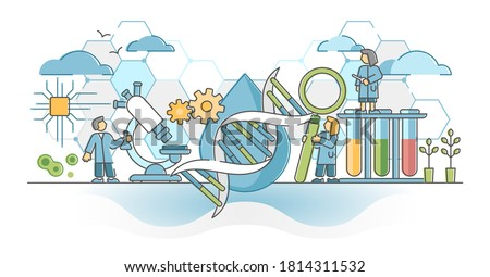 Biotechnology or biotech DNA research as genetic science outline concept. Biology and chemistry experiments using gene technology in laboratory vector illustration. Helix spiral clone study process.