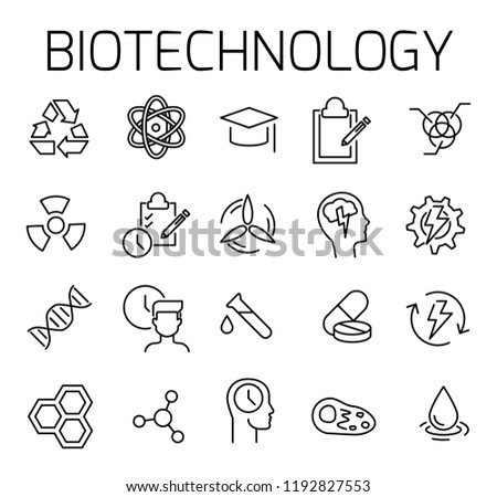 Biotechnology related vector icon set. Well-crafted sign in thin line style with editable stroke. Vector symbols isolated on a white background. Simple pictograms.
