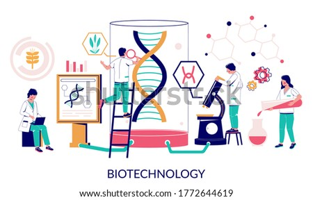 Biotechnology, vector flat illustration. Group of scientists, lab technicians wearing white coats testing DNA, examining cell cultures and splicing genes. Biotechnology laboratory concept.