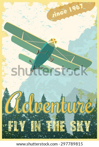 biplane on the background of