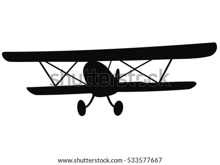 Biplane Vector Icon Black Silhouette
