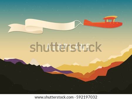 Biplane with banner. Vintage travel poster. Retro airplane poster. Vector Travel Poster.  Pop - art minimalistic style, for travel agencies, aviation companies.