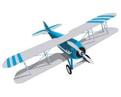 Biplane with blue and white coating. Model aircraft propeller with two wings. Plane from World War. Old retro aircraft designed for poster printing. Beautifully drawn vector flying biplane.
