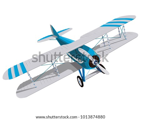 biplane with blue and white