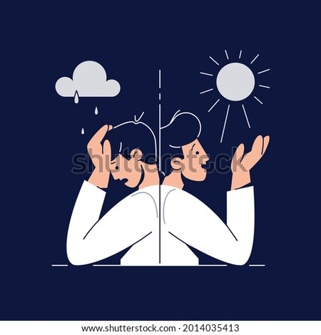 Bipolar disorder concept. Man suffers from mood swings, showing mania and depression period. Split personality, Manic depression, Mental disorder, bipolarity for web design. Flat vector illustration Foto d'archivio ©