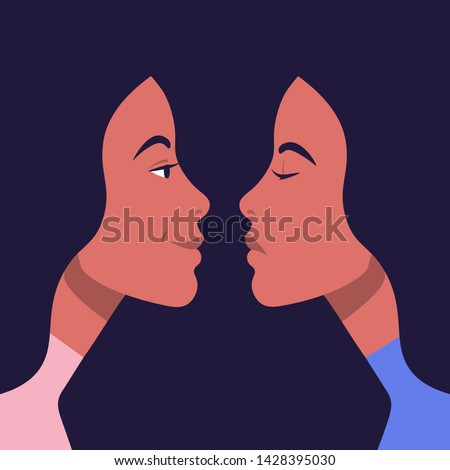 Bipolar disorder. Portrait of an Hispanic woman in profile in depression and in a good mood. Two female faces from the side. Vector illustration in flat style