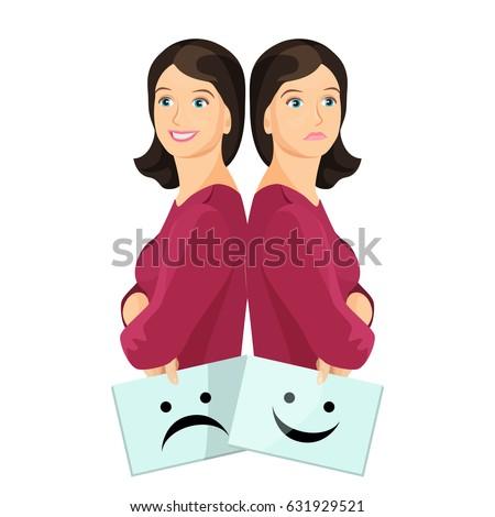 bipolar woman smiling and upset