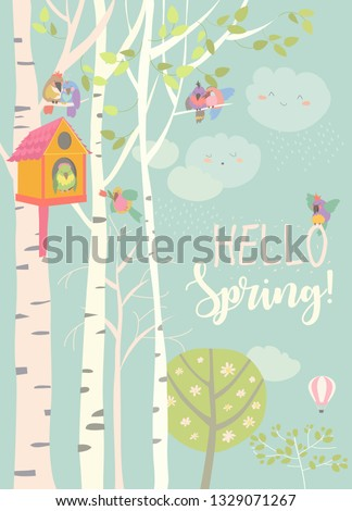 Birch tree and birdhouse with little birds in spring forest