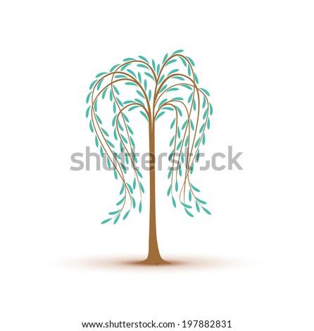 birch tree decoration on white