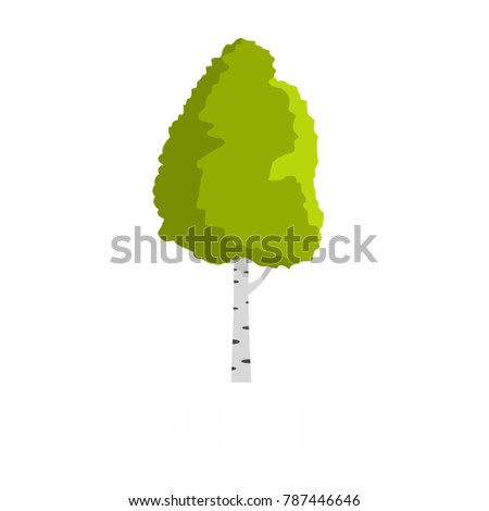 Birch tree icon. Flat illustration of birch tree vector icon isolated on white background