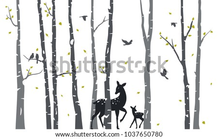 Stock Photo Birch Tree with deer and birds Silhouette Background
