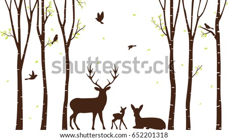 birch tree with deer and birds