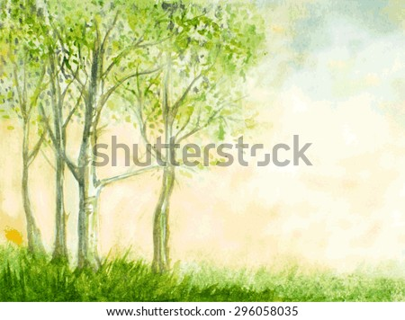 birch trees watercolor vector