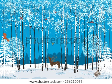 birch trees with perching flock