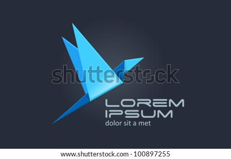 Bird Abstract logo template. Origami bird icon.