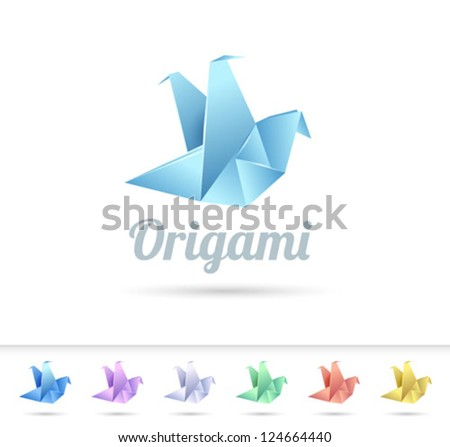 bird abstract origami icon - vector illustration