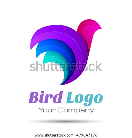 Stock Photo Bird Abstract Volume Logo Colorful. 3d Vector Design. Corporate identity
