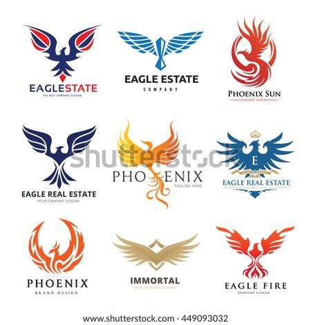 bird and eagle logo set