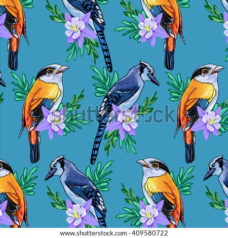 bird and flower pattern