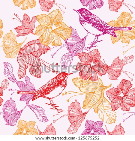 bird and flowers. pattern design