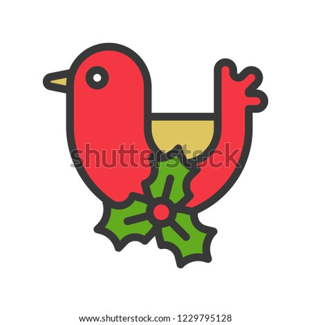 bird and mistletoe, cute christmas and winter related set,suitable for use as material.editable outline