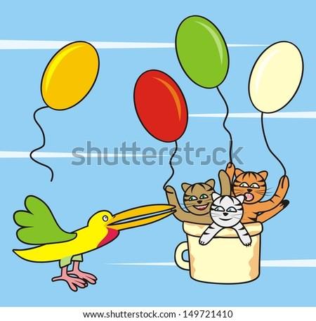 bird and three cats