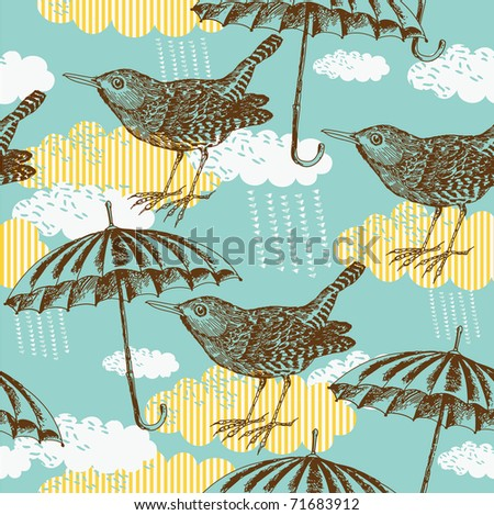 Bird and umbrella. seamless pattern