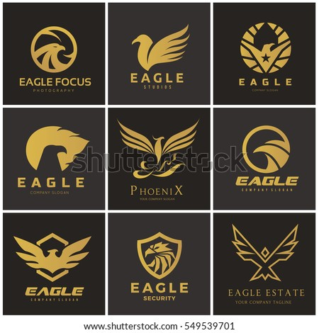 bird and wing logo set eagle