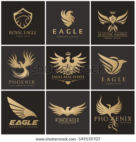 bird and wing logo set eagle