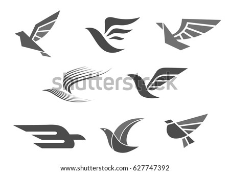 bird and wings vector icon for