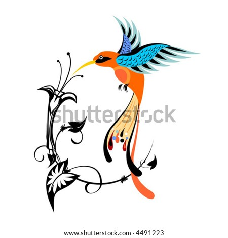 bird, animals, flower, wing, hummingbird, nature, flying, vector, pattern, floral, elegance