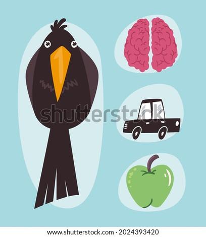bird brain car and apple on