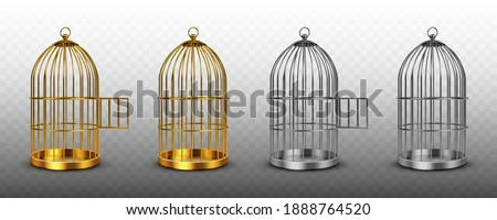 Bird cages, vintage empty birdcages of golden and silver colors, metal jails with open and closed doors isolated on transparent background. Steel and gold traps, realistic 3d vector illustration, set Foto stock ©