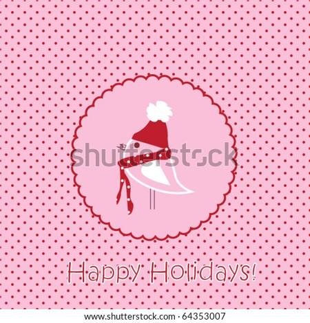 Bird card, Christmas illustration