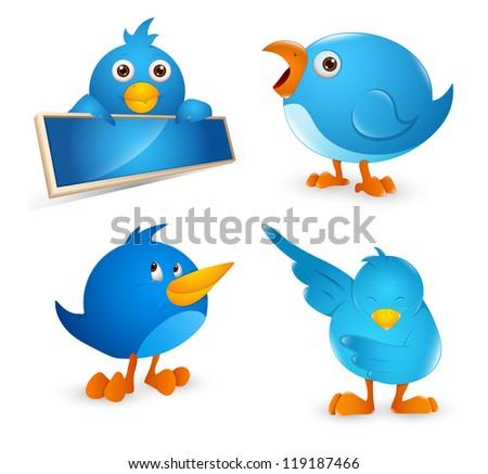 Bird Cartoon Icon Set - stock vector