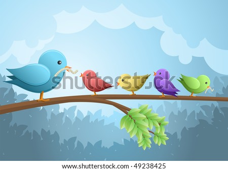 Bird family breakfast vector illustration stock vector