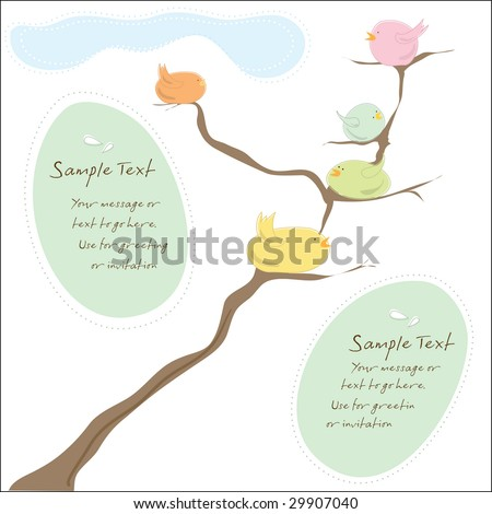 stock vector Bird Family Invitation or greeting card for wedding shower