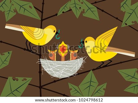 Bird family. Parents couple feeding hungry newborn baby birds sitting in straw nest. Cute comic cartoon. Minimalism simplicity wildlife design. Template vector birdwatching, nature care background