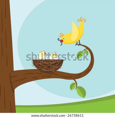 bird family vector illustration