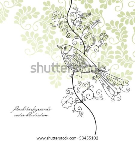 bird, floral background