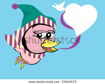 bird girl on winter with heart style speech bubble, vector - stock vector