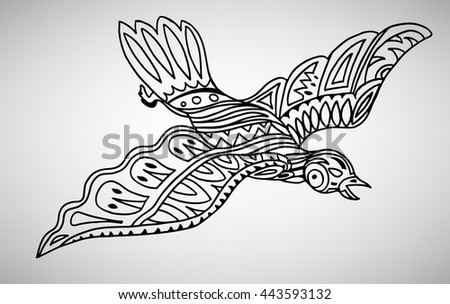Bird Hand Drawn With Ethnic Pattern Coloring Page